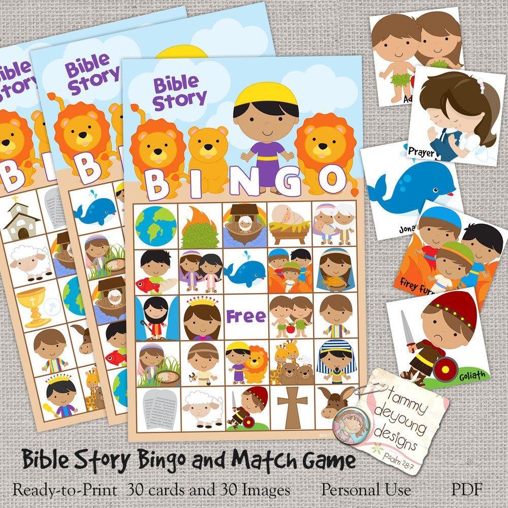 Digital Bible Bingo, Printable Sunday School Bingo Game