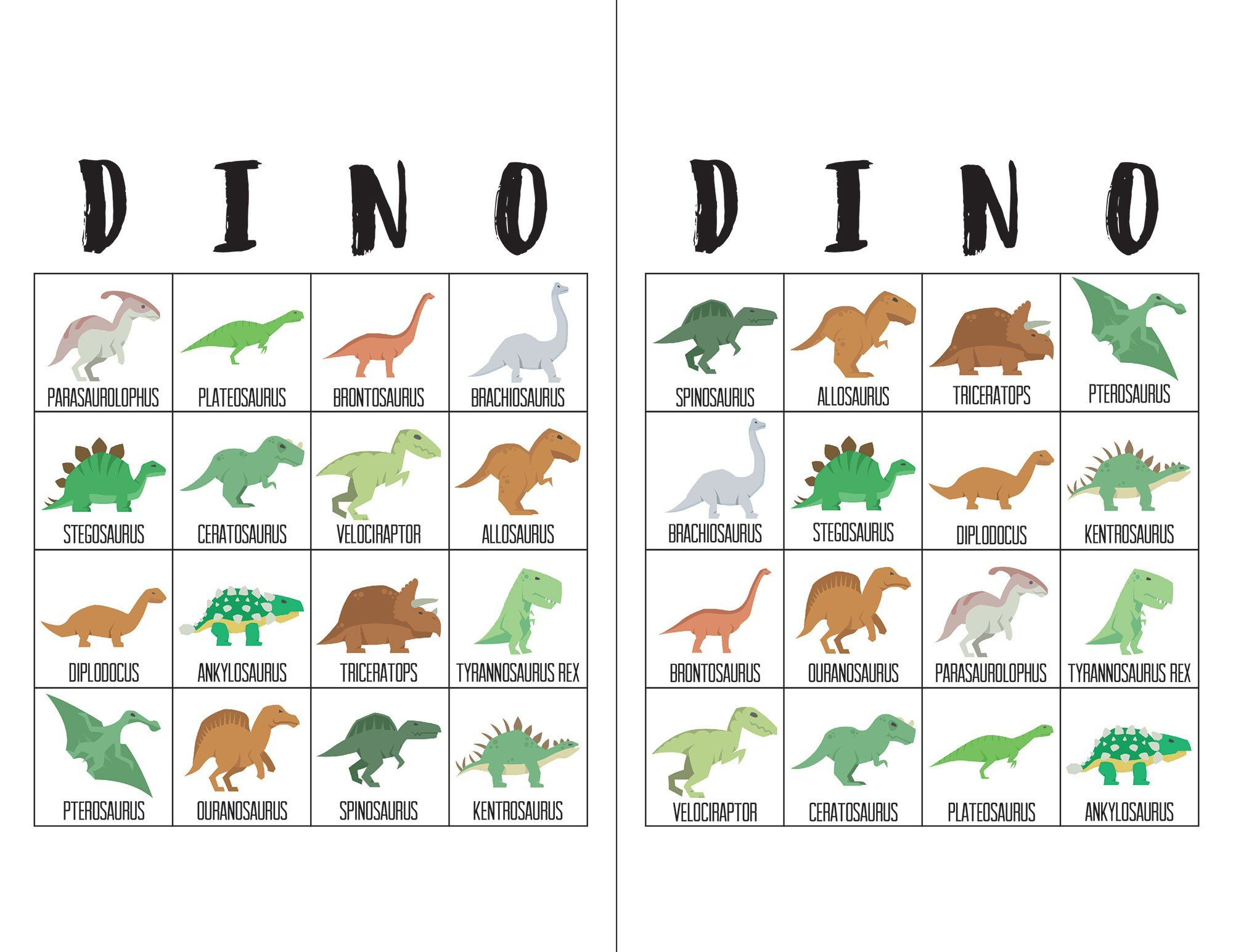 Dinosaur Bingo Cards   Bingo Cards, Dinosaur Birthday Party