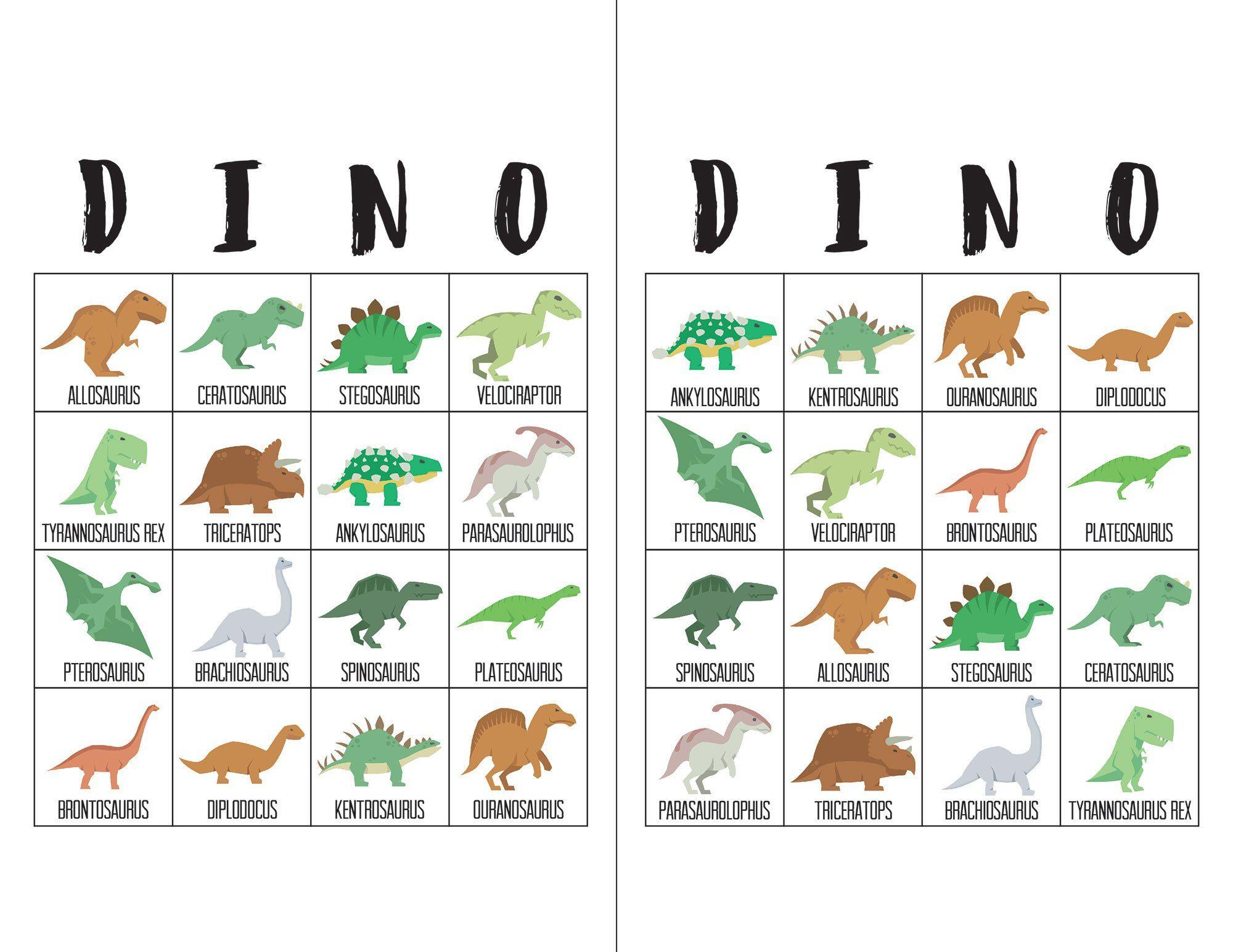 Dinosaur Bingo Cards - Dinosaurussen, Feestje En Verjaardag