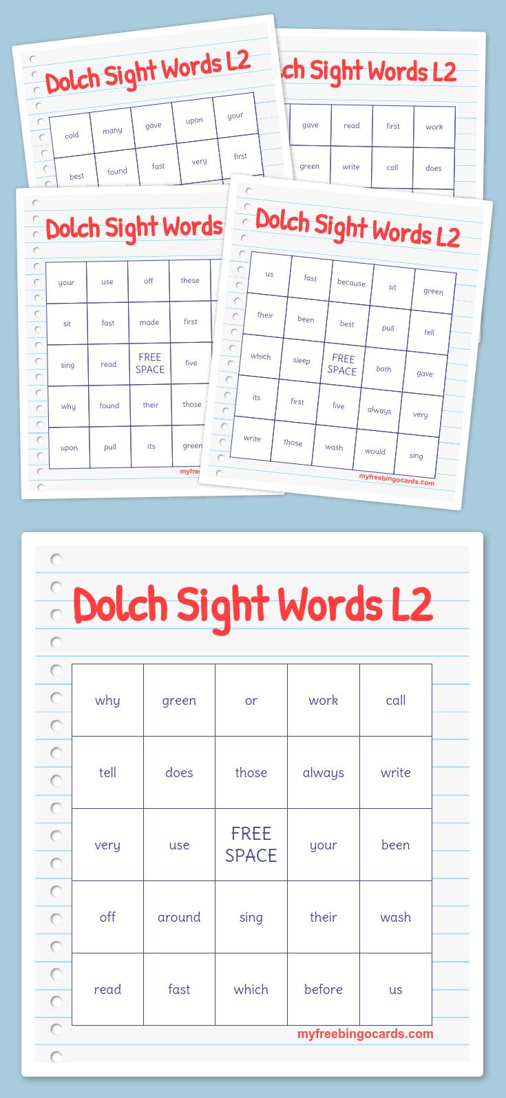 Dolch Sight Words L2 Bingo   Free Printable Bingo Cards