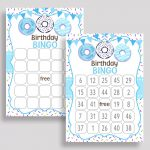 Donut Bingo Game Cards, Donut Birthday Game, Printable Blue