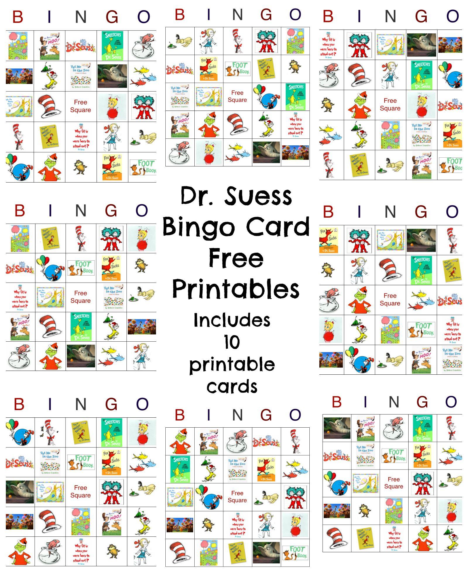 Dr Seuss Bingo Game Free Printable | Dr Seuss Day, Dr Seuss