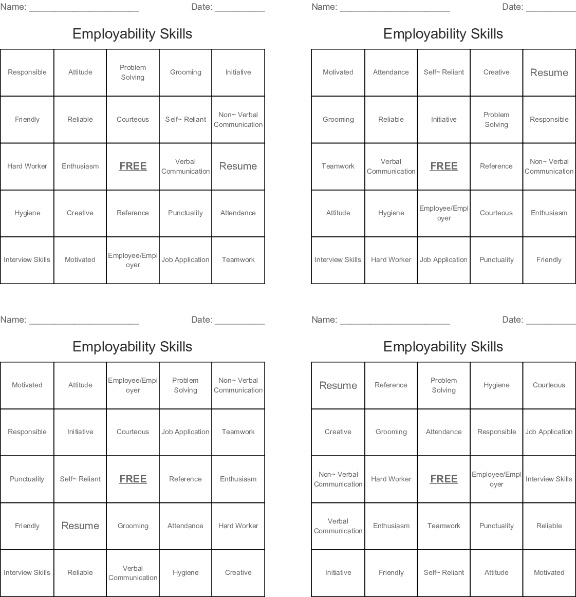 Employability Skills Bingo Cards - Wordmint