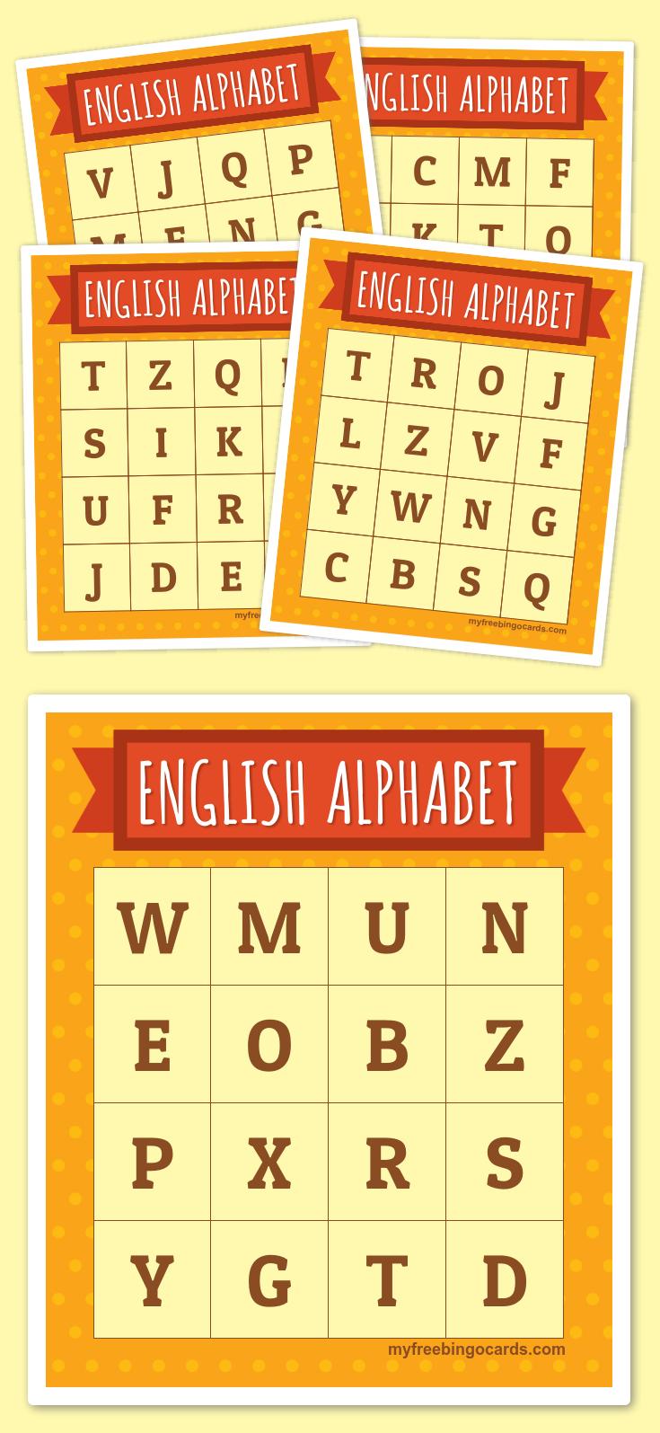 English Alphabet Bingo