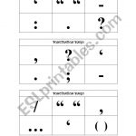English Worksheets: Punctuation Bingo Cards