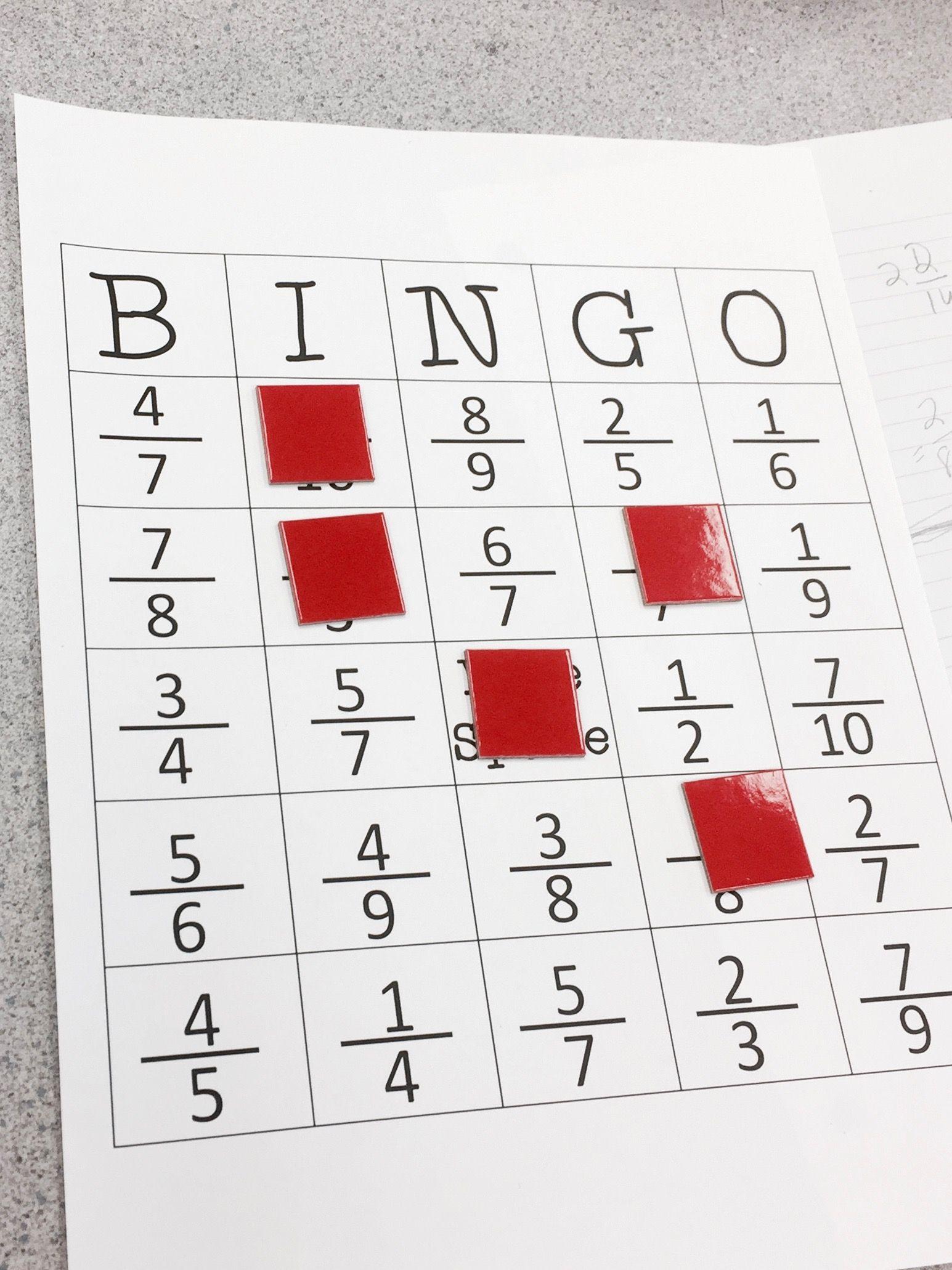 Equivalent Fraction Bingo   Fractions, Math, Equivalent