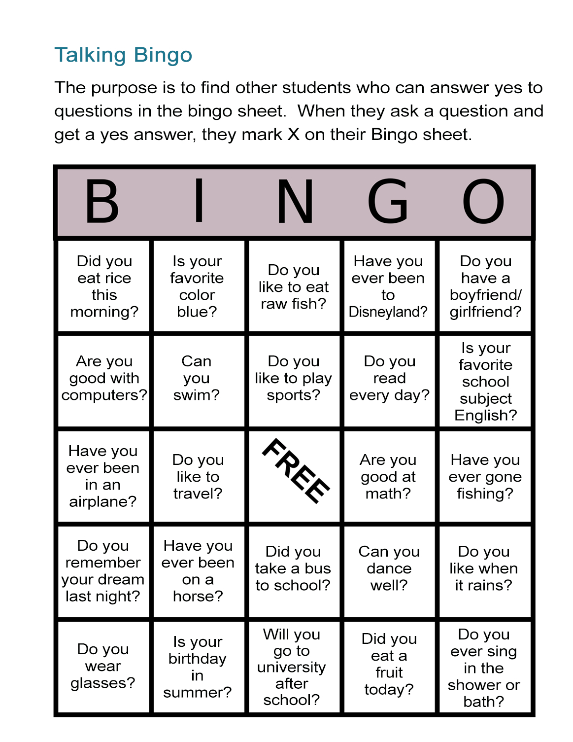 Esl Bingo Free Worksheet: Stand-Up Bingo - All Esl