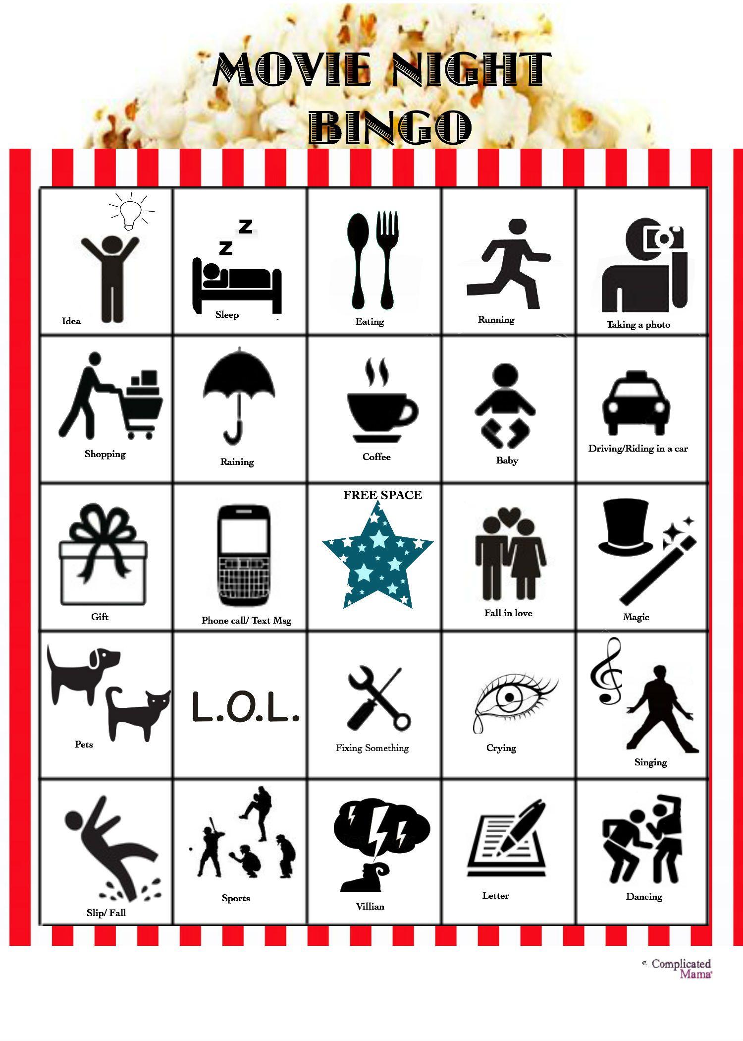 Family Movie Night Bingo With Free Printable Bingo Game
