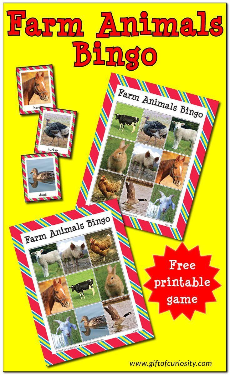 Farm Animals Bingo {Free Printable} | Farm Activities, Farm