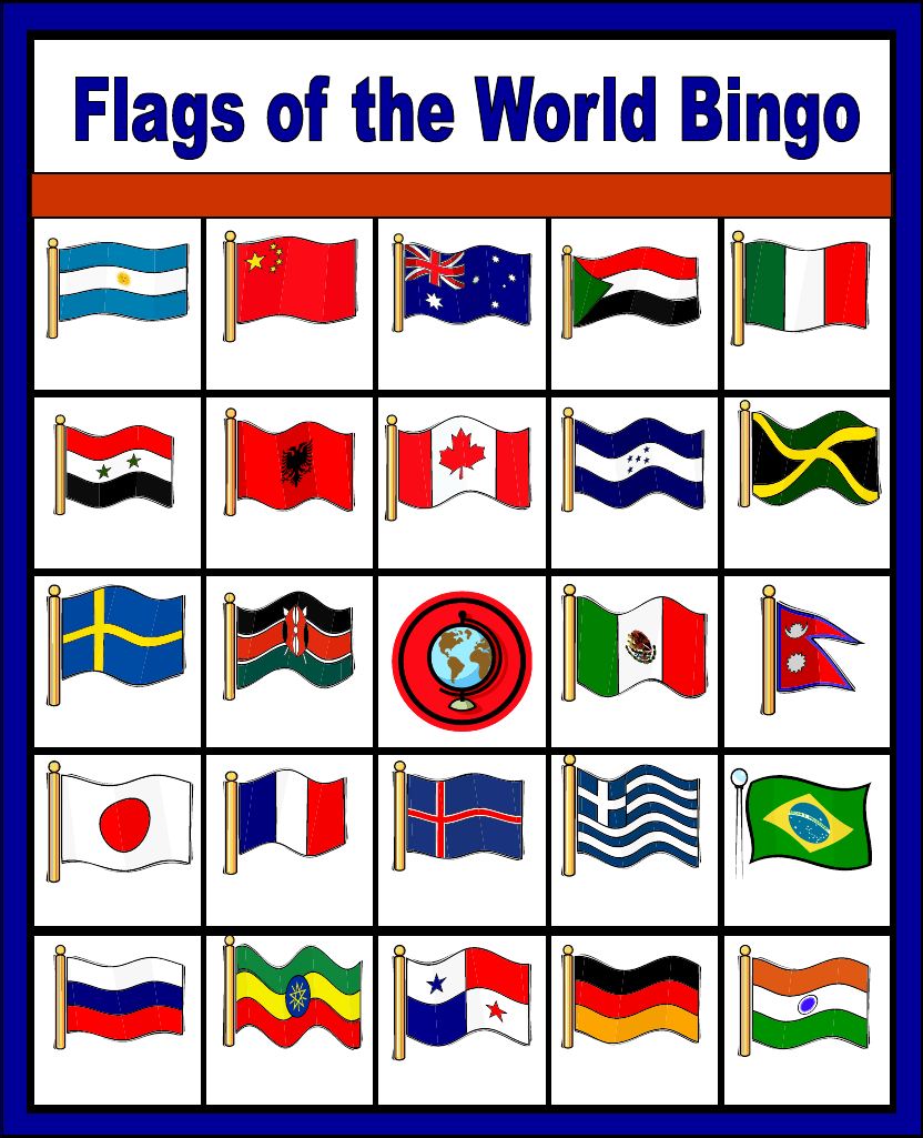 Flags Of The World Bingo - Free Printable (Only Enough For 6