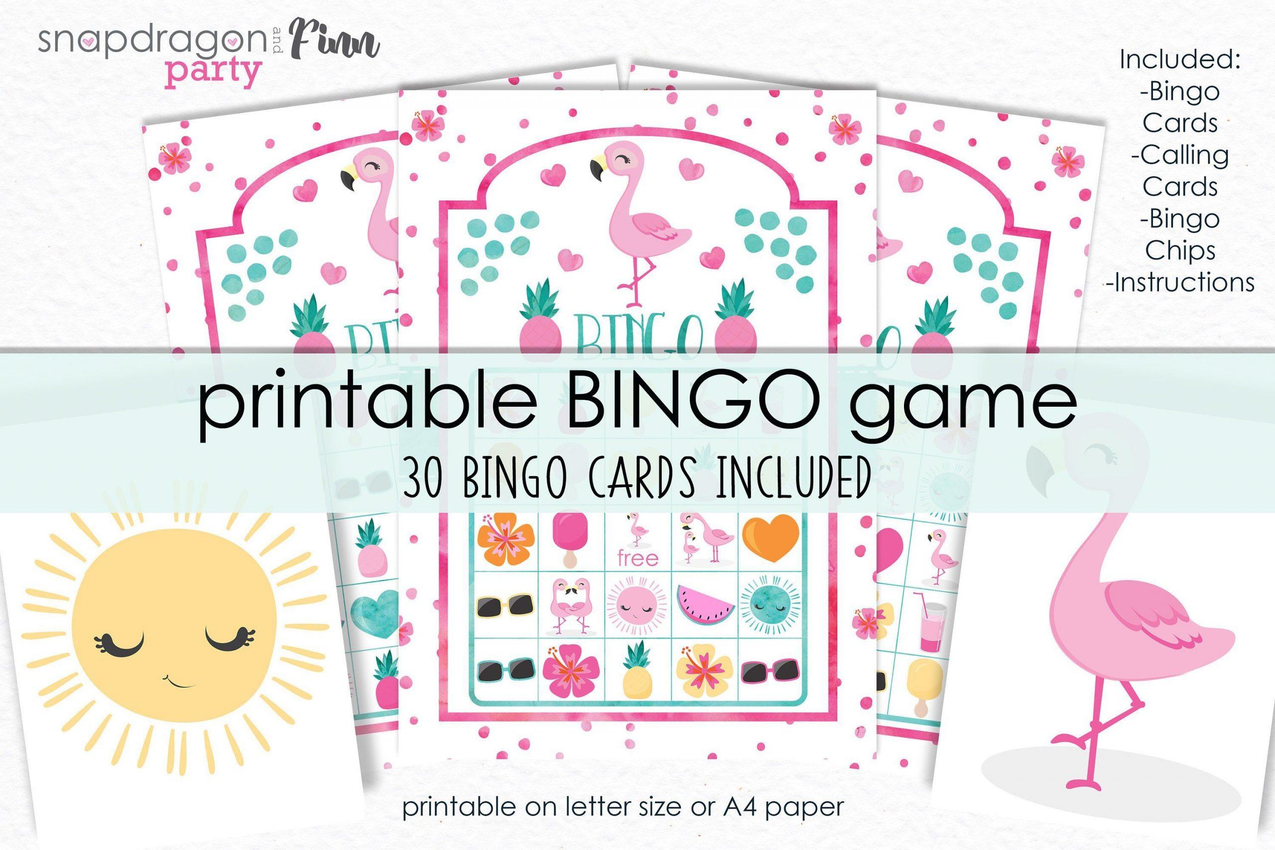 Flamingo Bingo Printable Game - Printable Flamingo Birthday