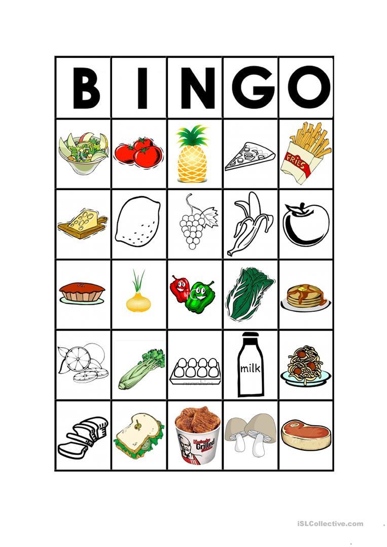 Food Bingo - English Esl Worksheets For Distance Learning