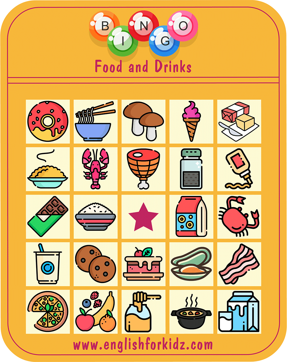 Food & Drinks Bingo Game