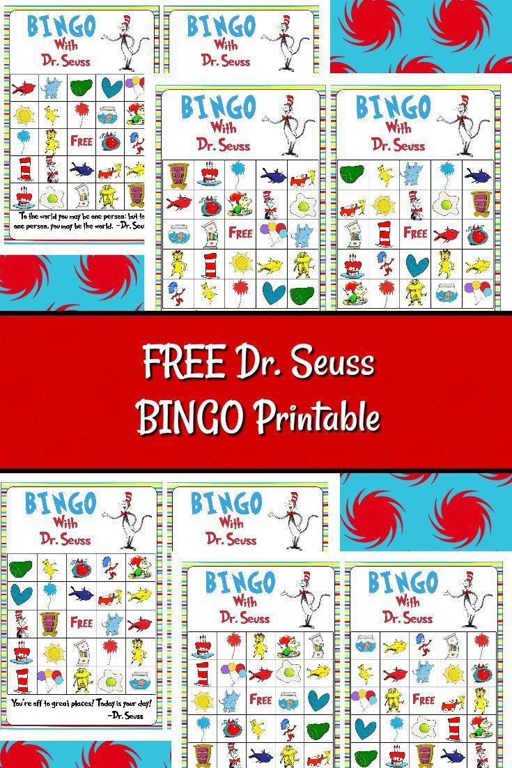 Free Dr. Seuss Bingo Printable   Dr Seuss Crafts, Dr Seuss Day