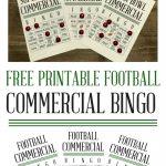 Free Football Commercial Bingo Printables | Super Bowl Party