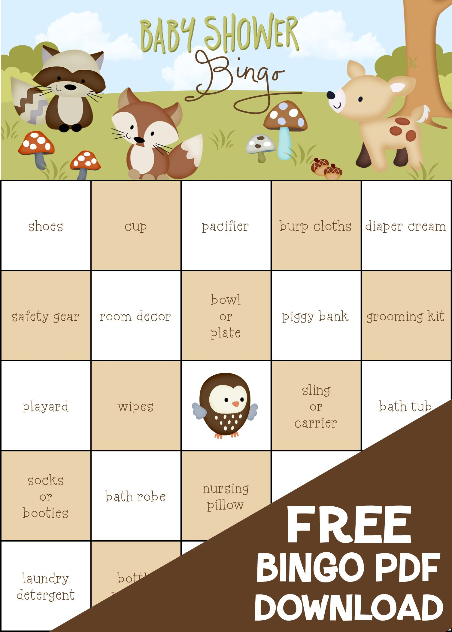 Free! Friends Of The Forest Baby Shower Bingo. 100 Pre