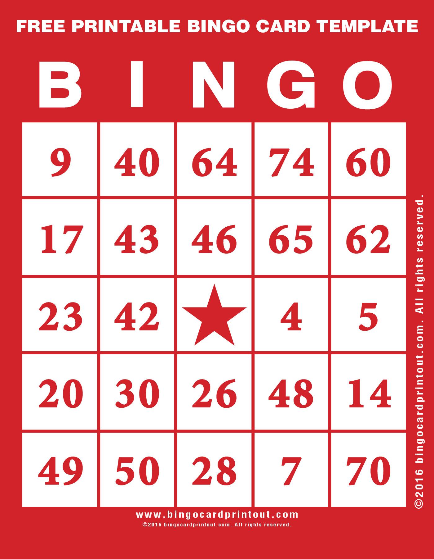 Free Printable Bingo Card Template - Bingocardprintout