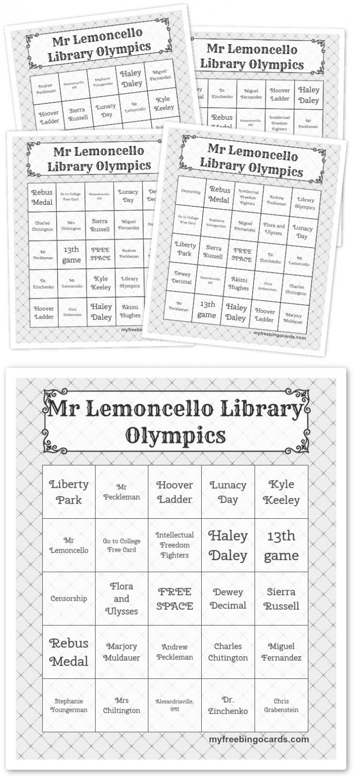 Printable Library Bingo Cards