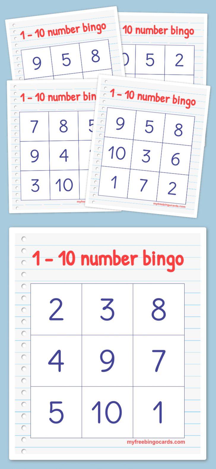 Printable Bingo Cards 1-10