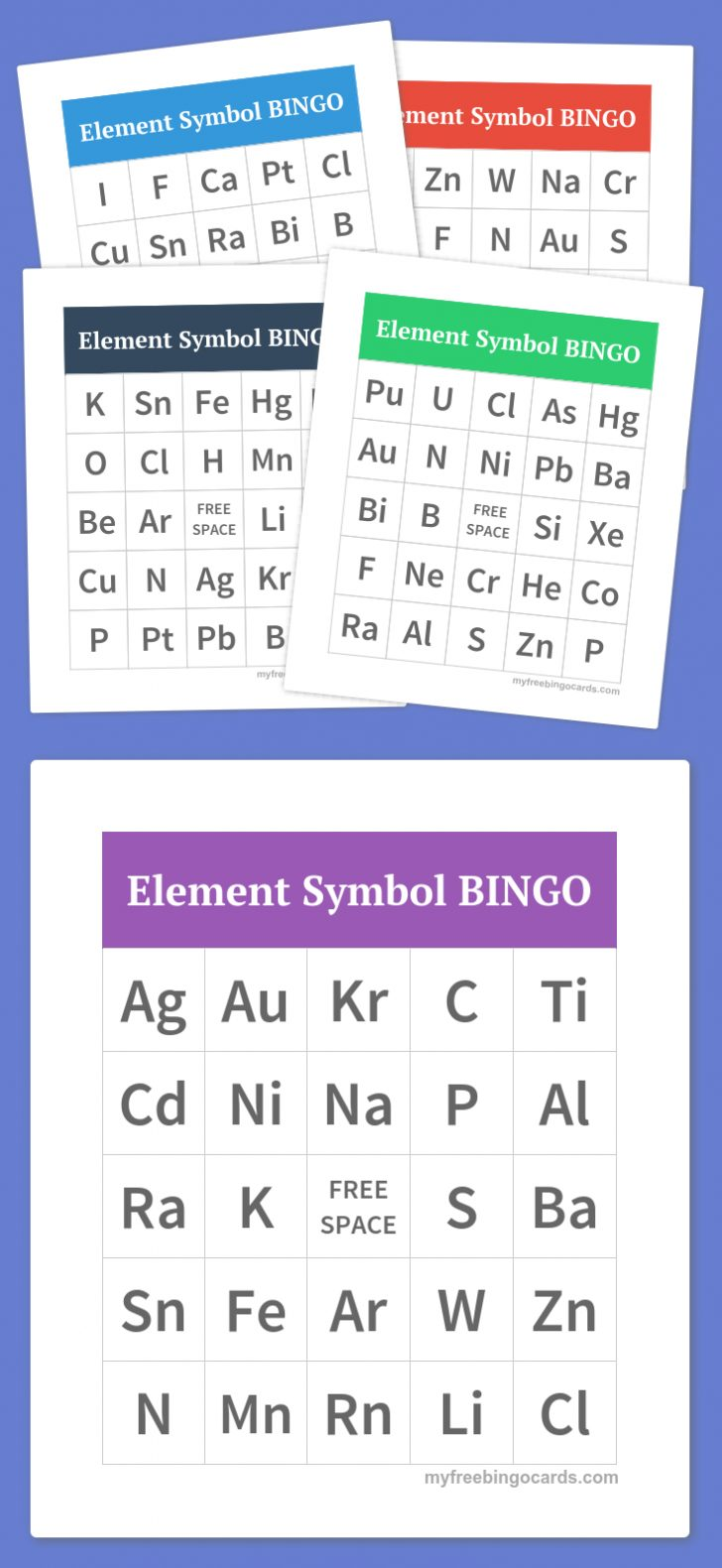 Printable Element Bingo Cards