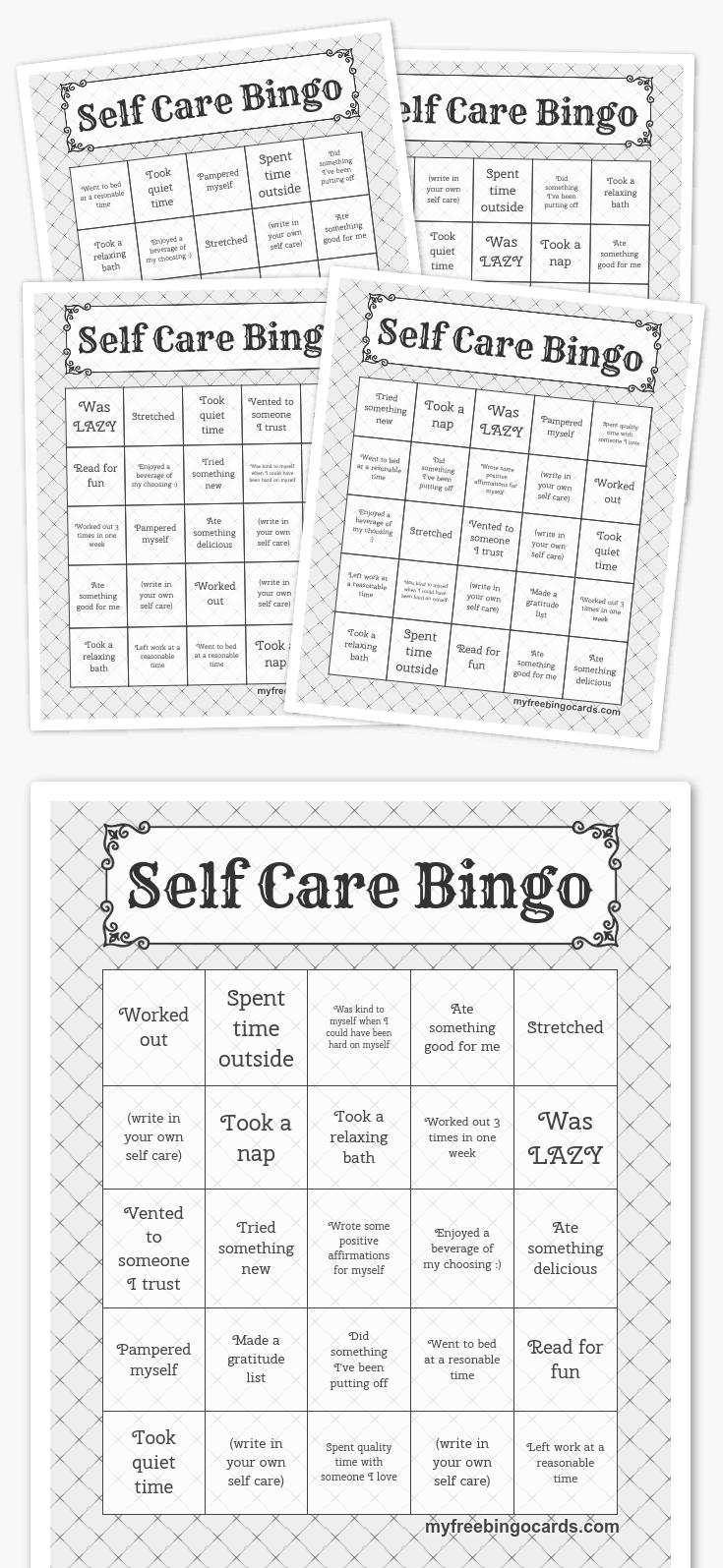 Free Printable Bingo Cards   Coping Skills, Self Care, Self