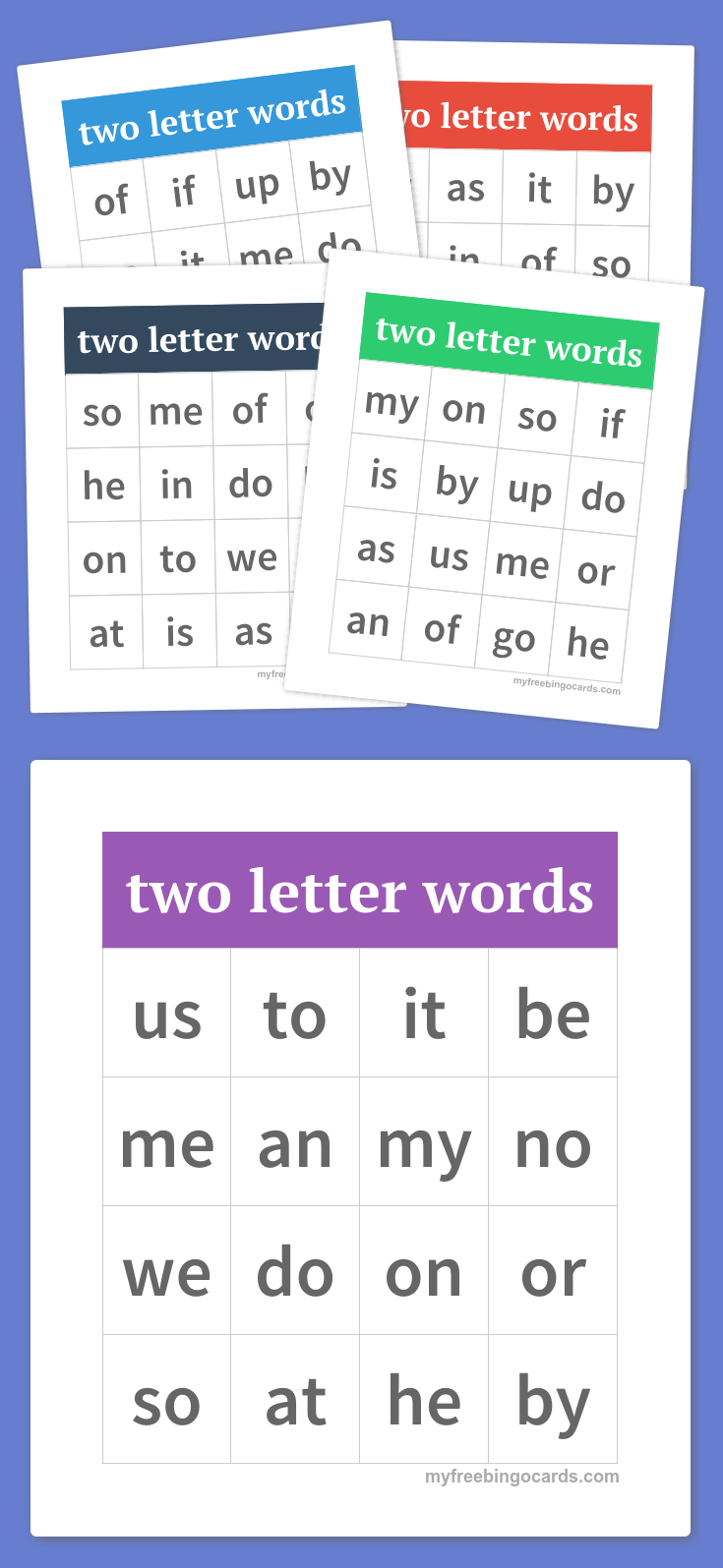 Free Printable Bingo Cards | Two Letter Words, Word Bingo