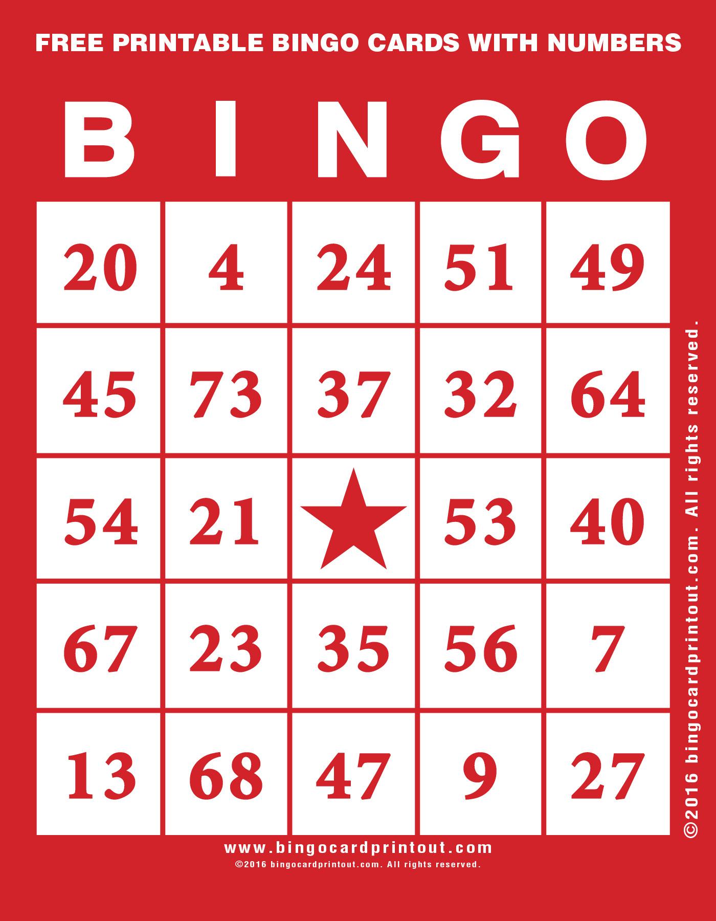 Free Printable Bingo Cards With Numbers - Bingocardprintout
