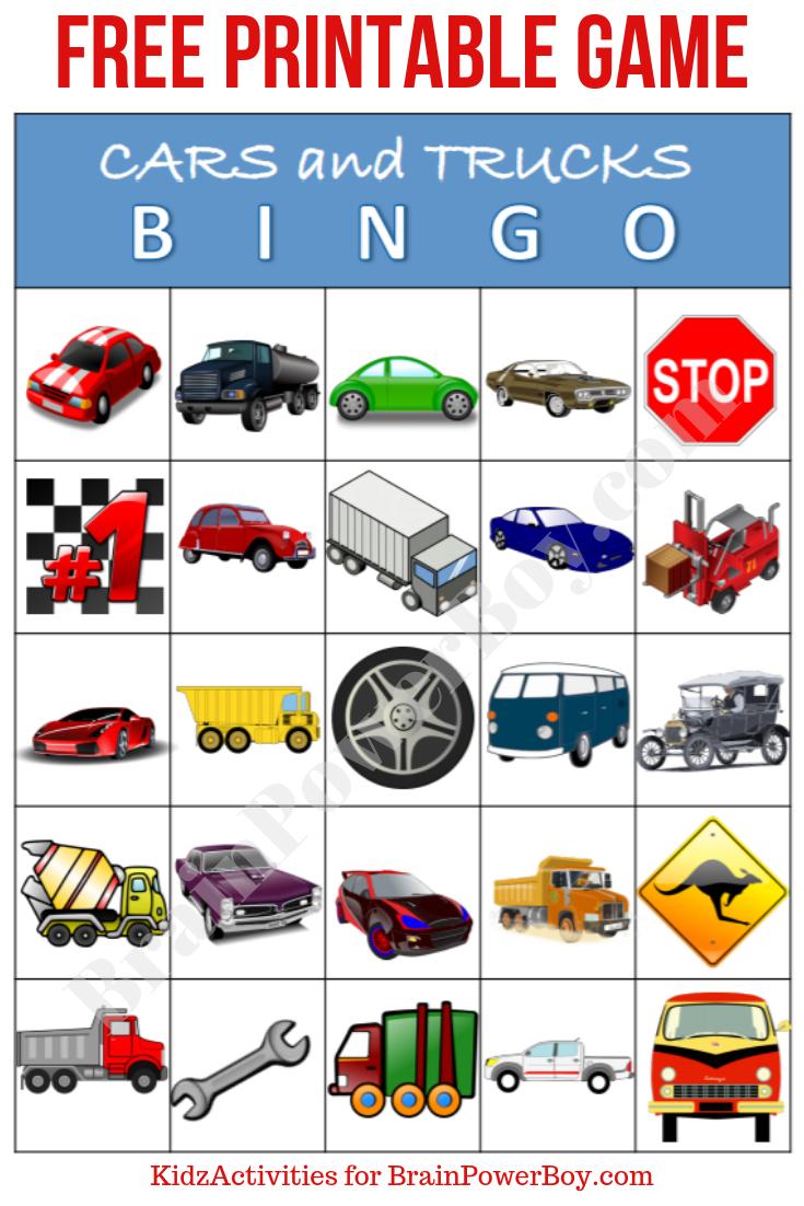 Free Printable Cars And Trucks Bingo Game   Free Bingo Cards