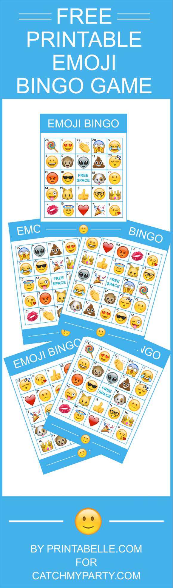 Free Printable Emoji Bingo Game -- Comes With 8 Bingo Cards