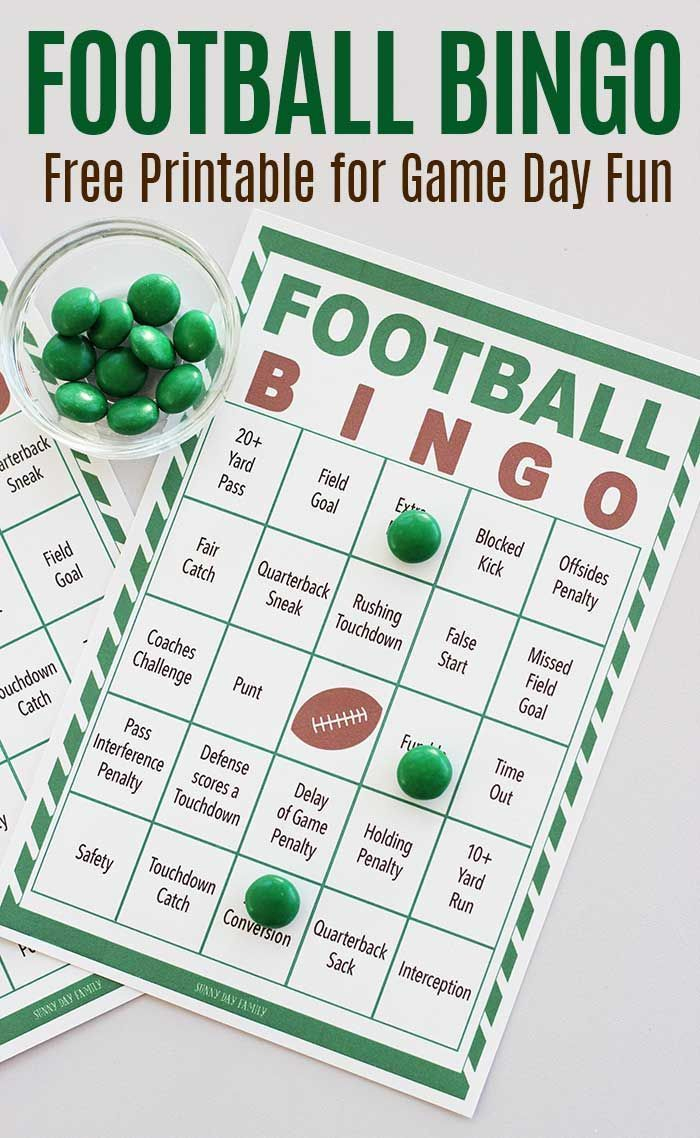 Free Printable Football Bingo For Game Day Fun | Football