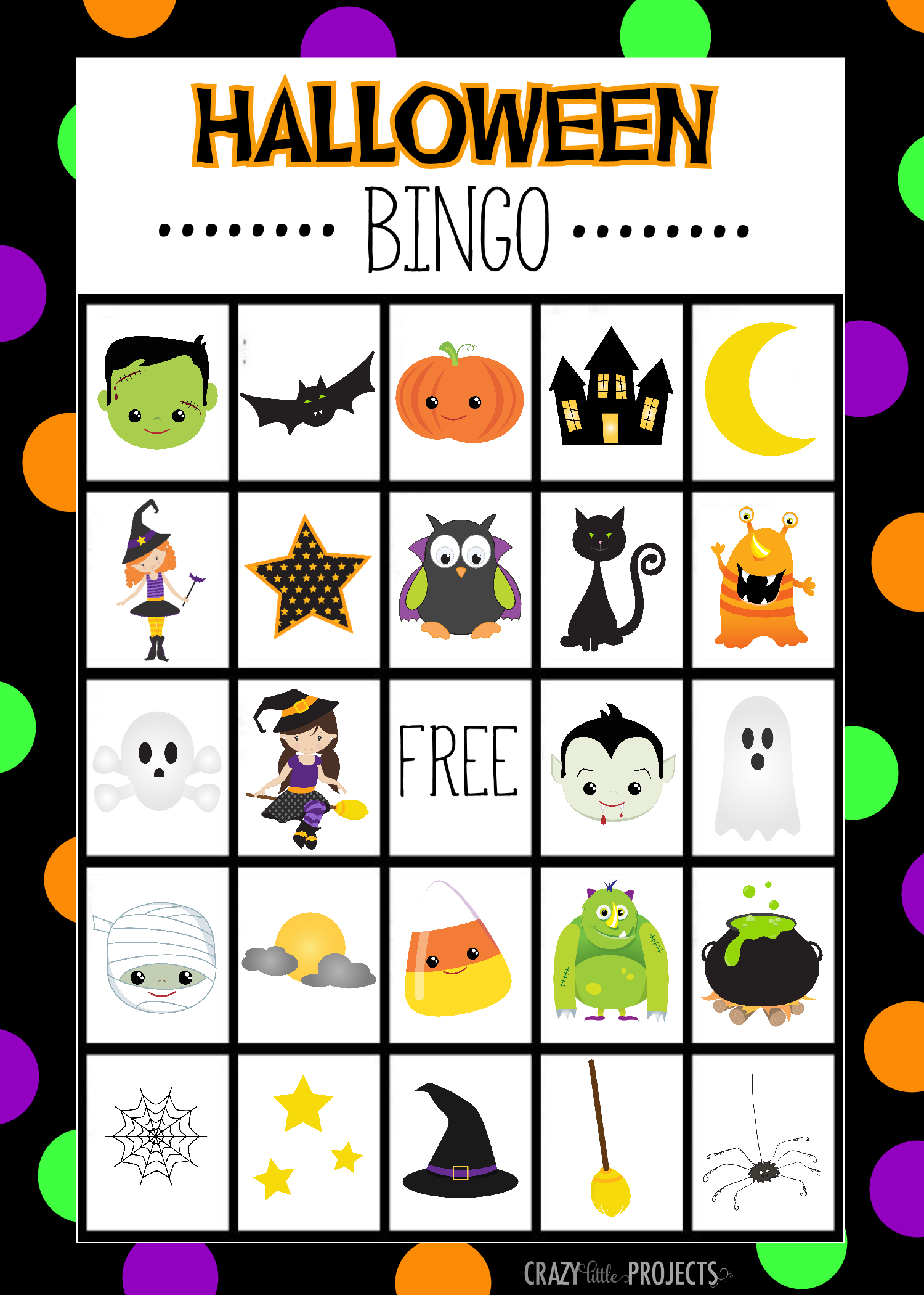 Free Printable Halloween Bingo Cardscrazy Little