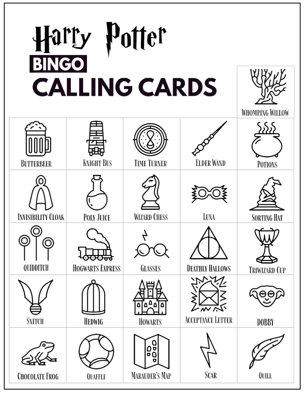 Free Printable Harry Potter Bingo Game - Paper Trail Design