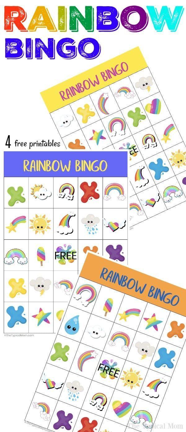 Free Printable Rainbow Bingo   Rainbow Party Games, Rainbow