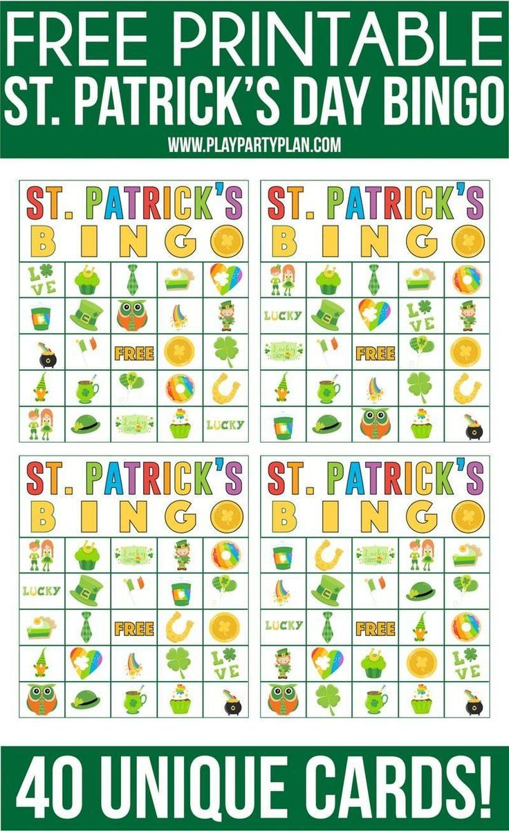 Free Printable St. Patrick's Day Bingo Cards - Play Party
