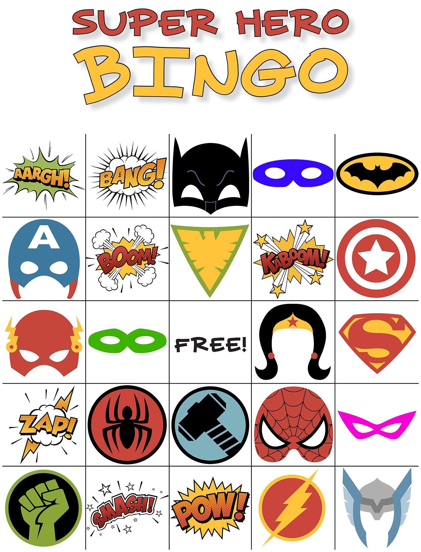 Free Printable Super Hero Bingo Party - Superheld Feestje