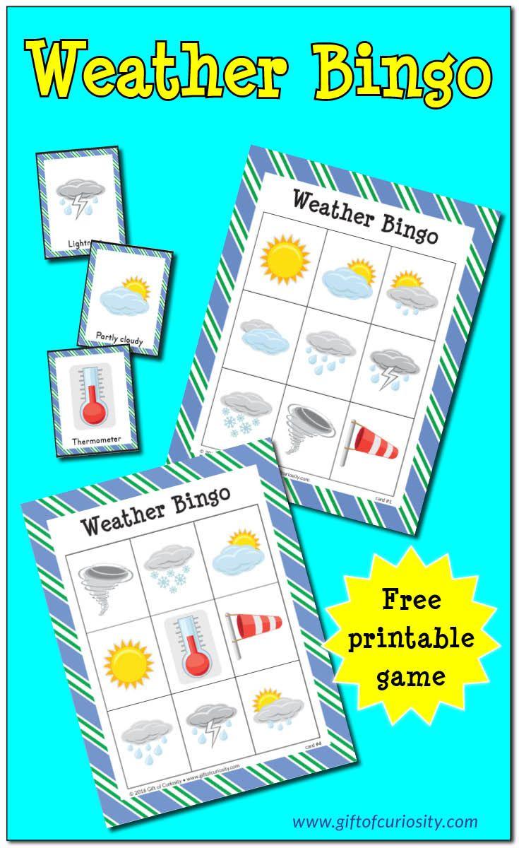 Free Printable Weather Bingo | Weather Crafts, Weather