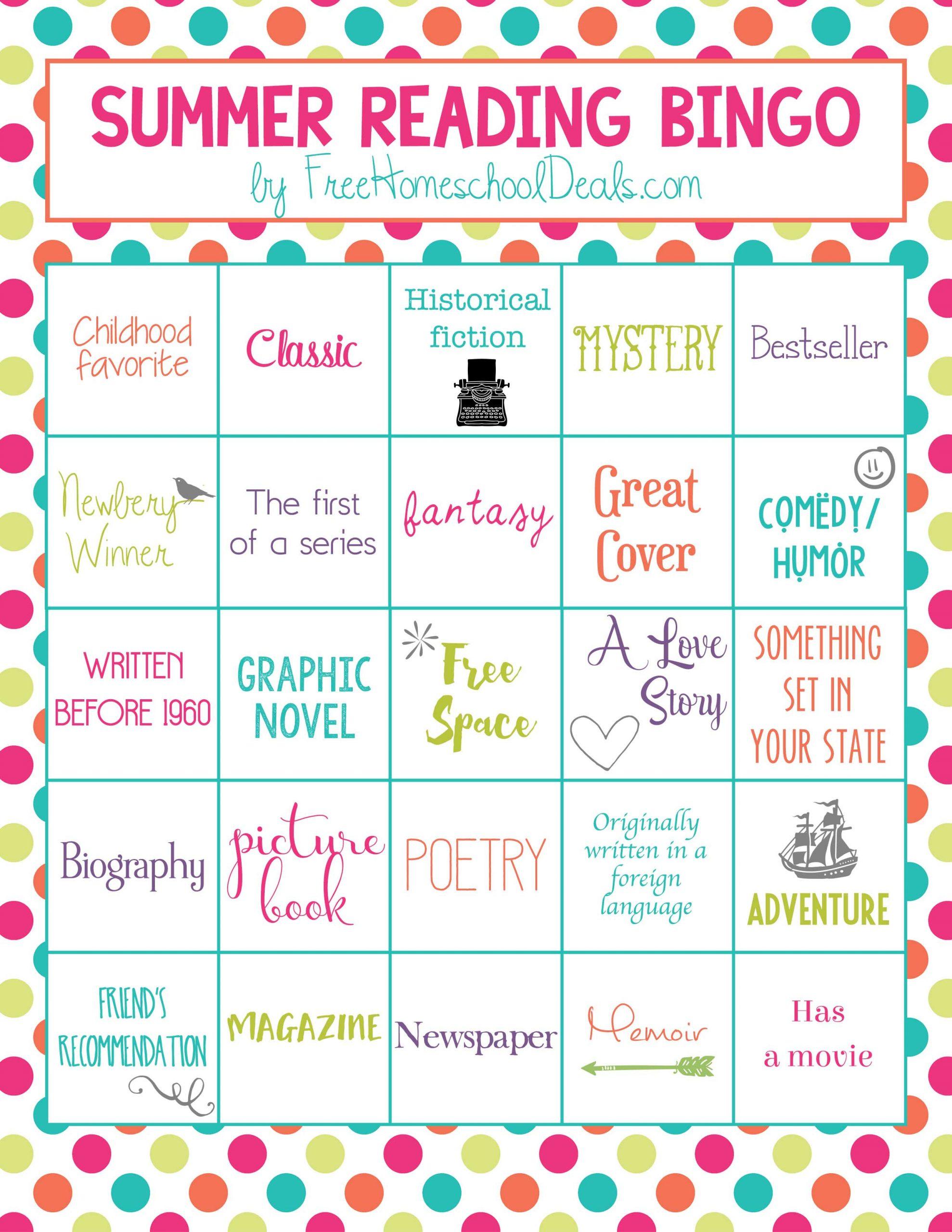 Free Summer Reading Bingo (Instant Download)