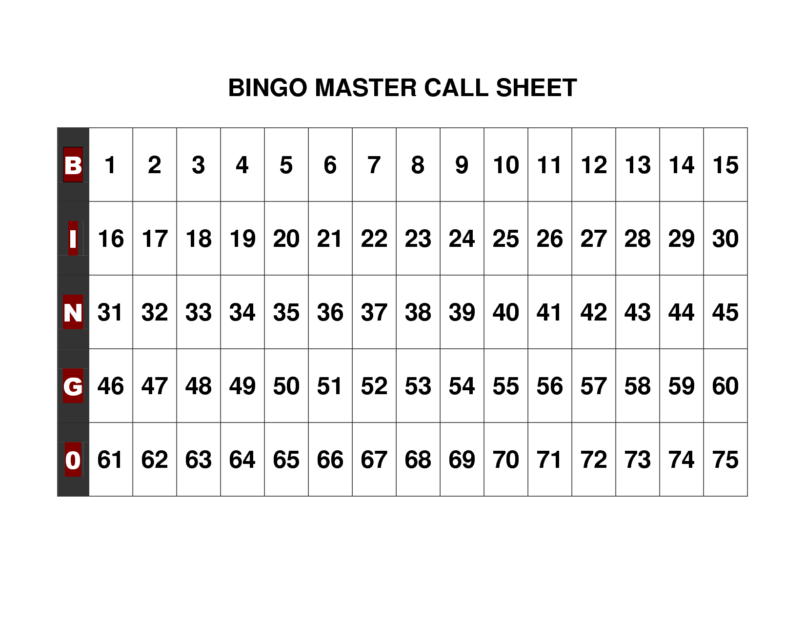 Free+Printable+Bingo+Call+Sheet | Bingo Printable, Bingo