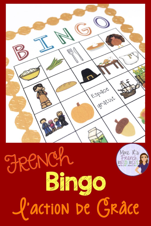 French Bingo Thanksgiving L'action De Grâce | How To Speak