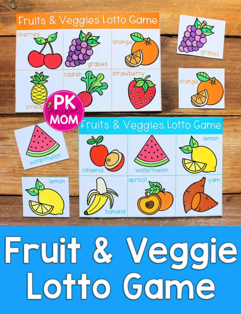 Fruit & Veggie Bingo Game - Preschool Mom