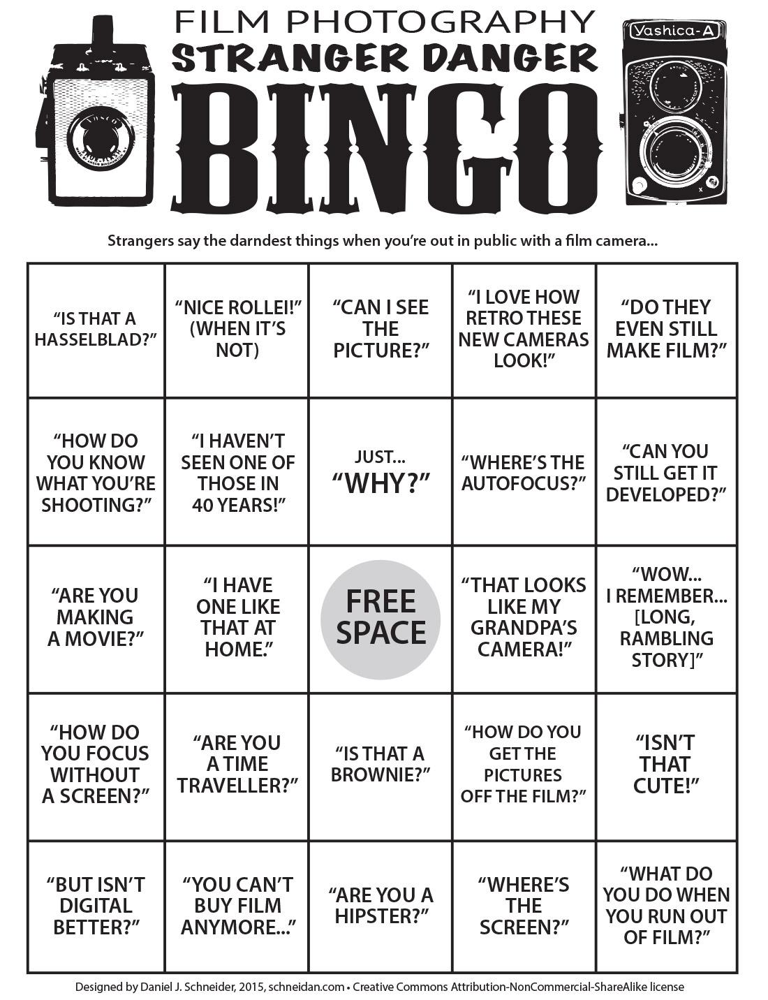 "Game Time: Play Film Photography ""stranger Danger"" Bingo"