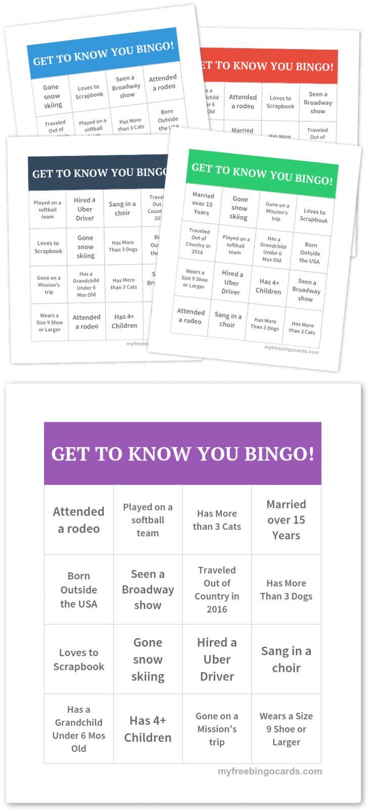 Free Printable Get To Know You Bingo Cards