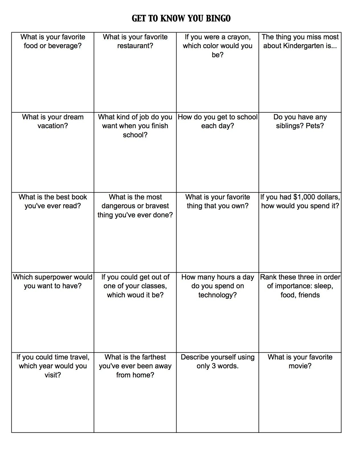 Get To Know You Worksheets | Get To Know You Bingo (C