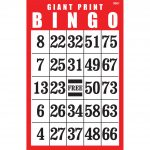 Giant Print Bingo Card  Red