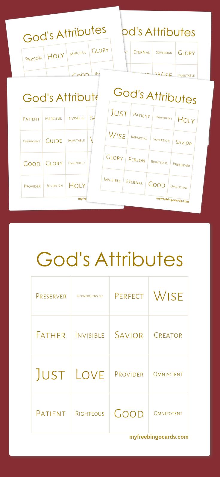 God's Attributes Bingo | Bingo Printable, Bingo Cards, Bingo