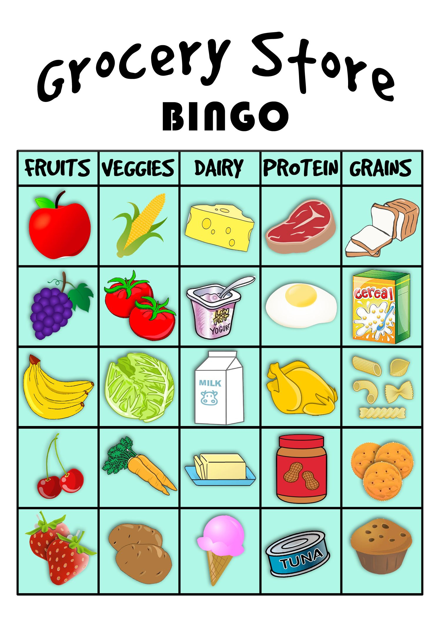 Grocery Store Bingo! | Preschool Food, Food Groups For Kids