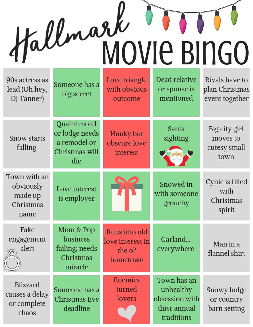 Hallmark Movie Bingo- Free Printables! | Christmas Movie