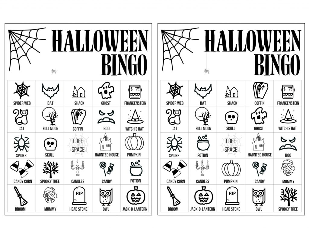 Halloween Bingo Printable Game Cards Template - Paper ...