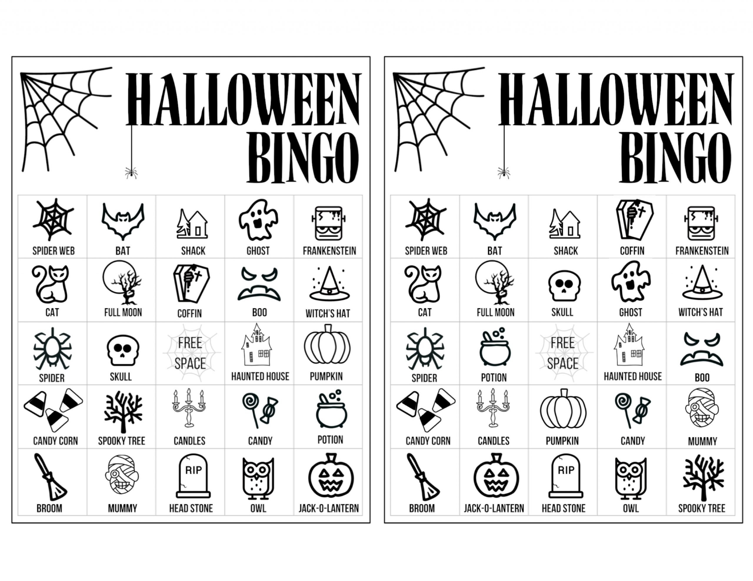 Halloween Bingo Printable Game Cards Template - Paper Trail
