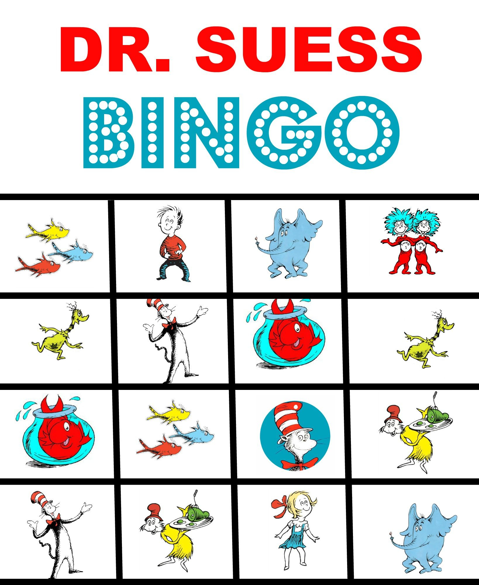 Happy Birthday Dr. Suess And Free Printable Bingo Game In